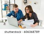 working in office | Shutterstock . vector #606368789