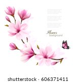 nature background with blossom... | Shutterstock .eps vector #606371411
