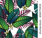 colorful tropical pattern with... | Shutterstock .eps vector #606373424