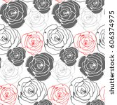 seamless floral pattern with... | Shutterstock .eps vector #606374975