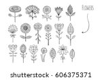 lovely hand drawn floral...   Shutterstock .eps vector #606375371