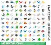 100 aviation icons set in... | Shutterstock .eps vector #606381965
