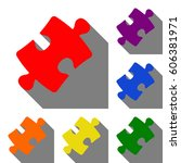 puzzle piece sign. set of red ...