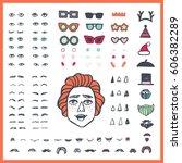 doodle man face bundle. hand... | Shutterstock .eps vector #606382289