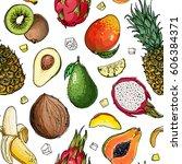 pattern. fresh food. watermelon ... | Shutterstock .eps vector #606384371