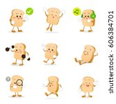collection of bread cartoon...   Shutterstock .eps vector #606384701