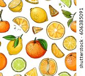 pattern. citrus. set of fruit.... | Shutterstock .eps vector #606385091
