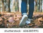 woman feet walking on street of ... | Shutterstock . vector #606385991