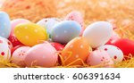 colorful pastel easter eggs on... | Shutterstock . vector #606391634