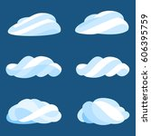 set of cloud icons in striped...
