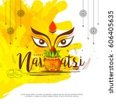 illustration of happy navratri...   Shutterstock .eps vector #606405635