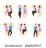 different sleeping poses couple ... | Shutterstock .eps vector #606405947
