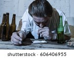 wasted alcoholic and drug... | Shutterstock . vector #606406955