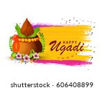 happy ugadi celebration... | Shutterstock .eps vector #606408899