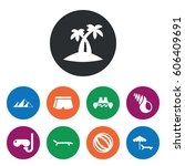 set of 9 vacation filled icons... | Shutterstock .eps vector #606409691