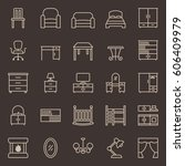 set of furniture icons. vector... | Shutterstock .eps vector #606409979