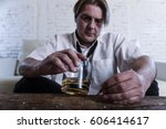 sad depressed alcoholic... | Shutterstock . vector #606414617