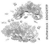 hand drawn underwater natural...   Shutterstock .eps vector #606426959