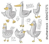 set illustration with birds and ... | Shutterstock .eps vector #606427271