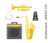 saxophone icon music classical... | Shutterstock .eps vector #606427715