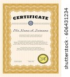 orange certificate diploma or... | Shutterstock .eps vector #606431234