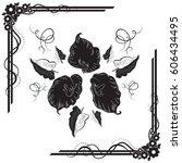 a beautiful bouquet of calla... | Shutterstock .eps vector #606434495