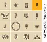 wheat ear icon set  wheat ears  ... | Shutterstock .eps vector #606439187