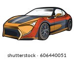 racing on the sports car | Shutterstock .eps vector #606440051