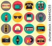 vector old style equipments ... | Shutterstock .eps vector #606443255