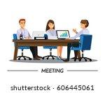business people having board... | Shutterstock .eps vector #606445061