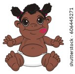 baby girl with black skin with ... | Shutterstock . vector #606445271