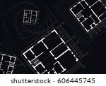 architectural house plans on a... | Shutterstock .eps vector #606445745