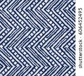 indigo dyed effect zigzag motif ... | Shutterstock . vector #606452495