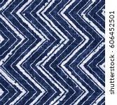indigo dyed effect zigzag motif ... | Shutterstock . vector #606452501