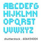 8 bit pixelated square alphabet ...   Shutterstock .eps vector #606454004