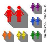 lesbian family sign. set of red ... | Shutterstock .eps vector #606456311