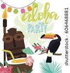 aloha hawaii summer beach card. ... | Shutterstock .eps vector #606468881