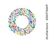 letter o filled with dense... | Shutterstock . vector #606476669
