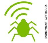 Radio Bug Vector Icon. Flat Ec...