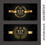 vip golden invitation template  ... | Shutterstock .eps vector #606480569