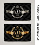 vip golden and platinum card  ... | Shutterstock .eps vector #606480599