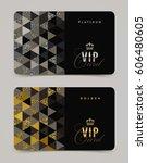 vip golden and platinum card... | Shutterstock .eps vector #606480605