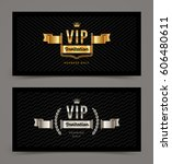 vip golden and silver... | Shutterstock .eps vector #606480611