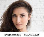 young beautiful woman day light ... | Shutterstock . vector #606483335