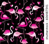 seamless pattern from pink... | Shutterstock .eps vector #606487541