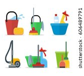 set of cleaning equipment ... | Shutterstock . vector #606489791