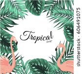 tropical design border frame... | Shutterstock .eps vector #606491075