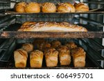 a lot of ready made fresh bread ... | Shutterstock . vector #606495701
