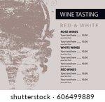 vector menu for wine tasting... | Shutterstock .eps vector #606499889