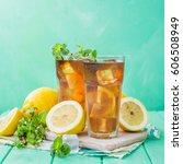 ice tea in glasses | Shutterstock . vector #606508949